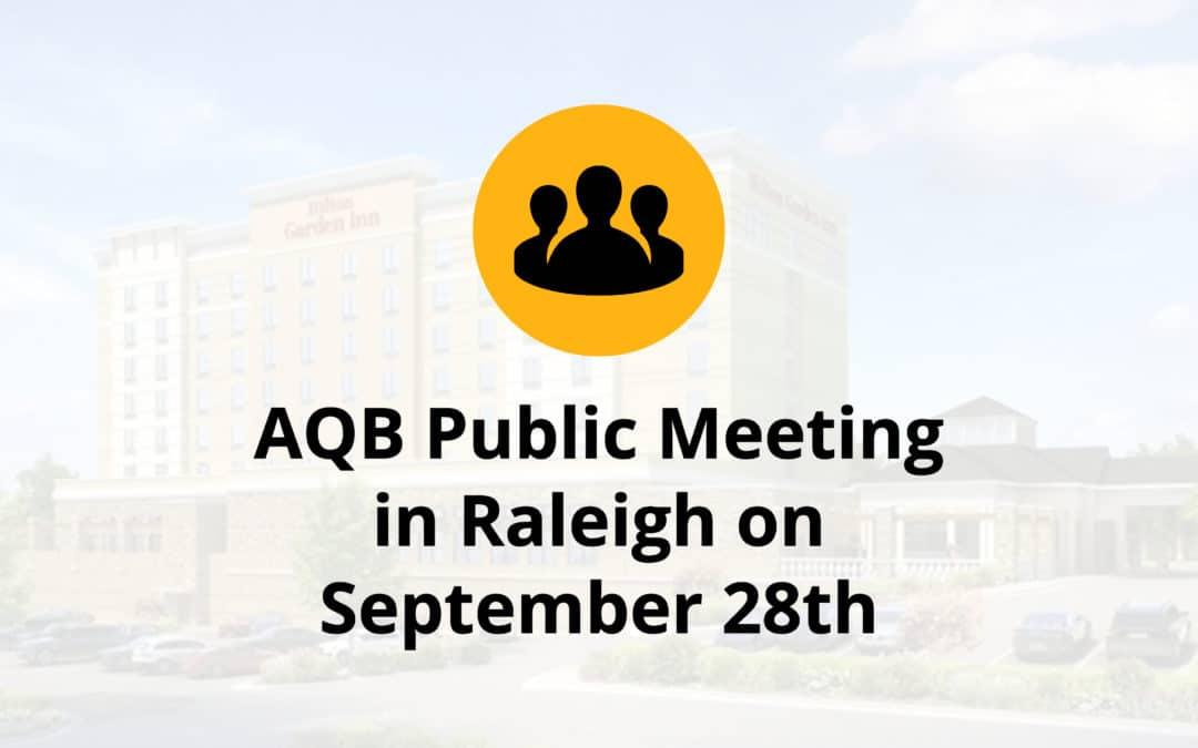 AQB Public Meeting in Raleigh on September 28th